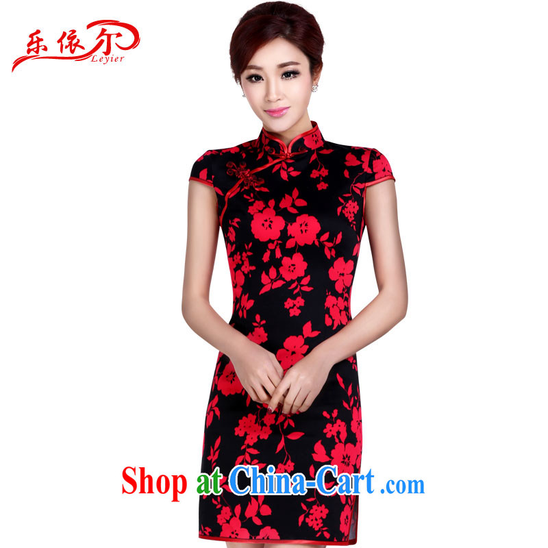 And, in accordance with antique stamp duty for the cheongsam manual tray clip elegant classic cheongsam women 2015 summer short-sleeved short red XXL