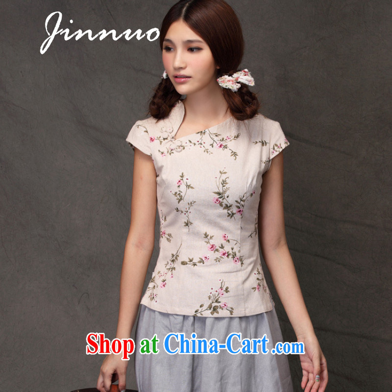 Kam-world the Hyatt girl with ethnic wind literature, small fresh sum girl, cotton the beauty graphics thin improved small floral cheongsam everyday T-shirt, served on the truck Chinese and forgetting D. Crescent collar L