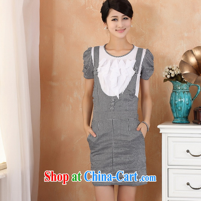 Take the new summer dress U collar tartan Chinese Ethnic Wind clothing elegant refined short-sleeved qipao dresses white L