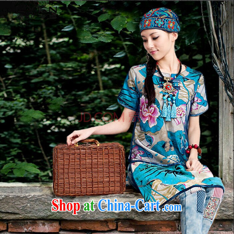 The way the Summer new national cotton the stamp duty is detained in the cheongsam dress short-sleeved dresses A 6035 blue M