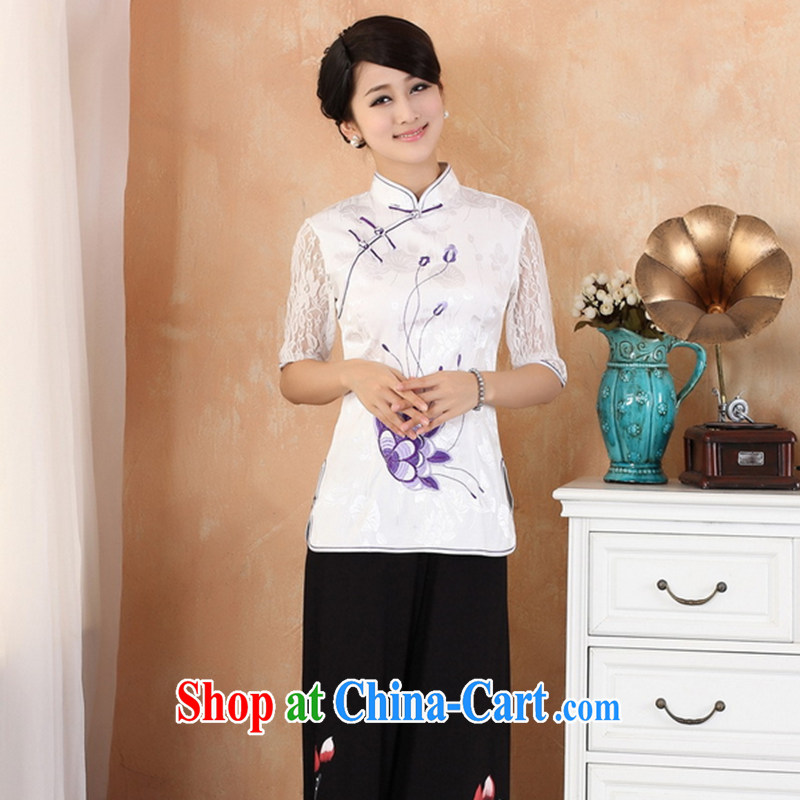 Take the 2014 summer new Chinese qipao dress improved Tang replace the need for tight shirt embroidered cuff in 2339 white XL