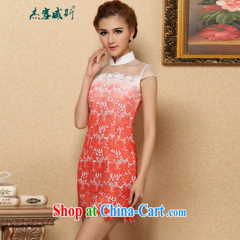 Jessup, new stylish classic improved water-soluble gradient lace cheongsam dress, collar XL