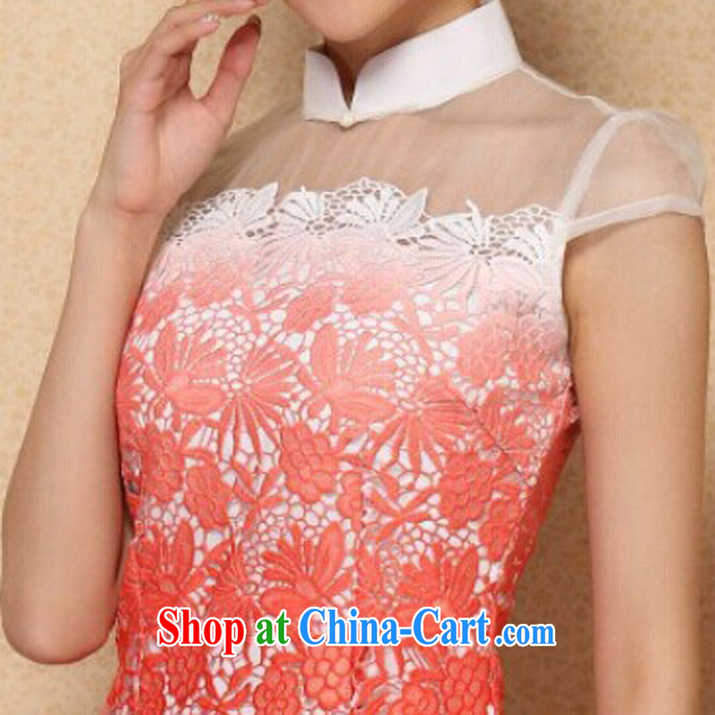 Jessup, new stylish classic improved water-soluble gradient lace cheongsam dress, collar XL, Jessup, and shopping on the Internet