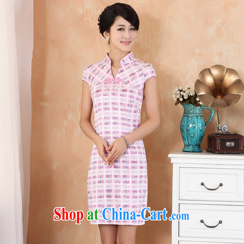 Take the 2014 new summer the collar tartan Ethnic Wind improved version short-sleeved, long cotton robes W 2335 - 1 white L