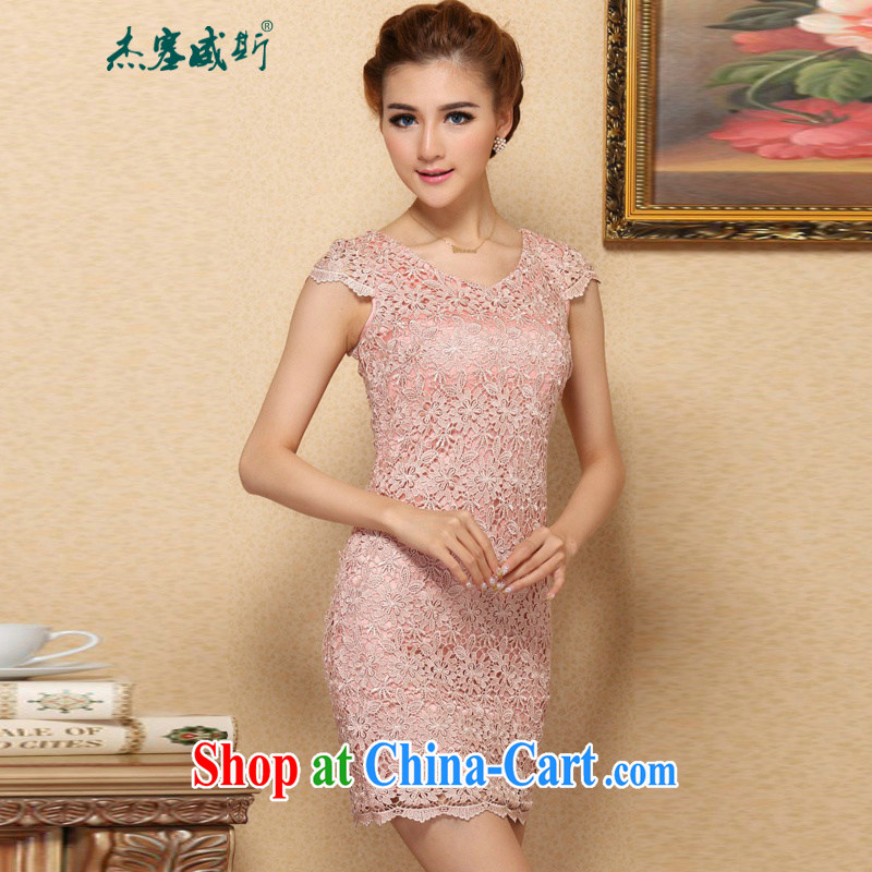 Jessup, new stylish and elegant and improved water-soluble lace cheongsam dress lace cheongsam dress with round collar XXL
