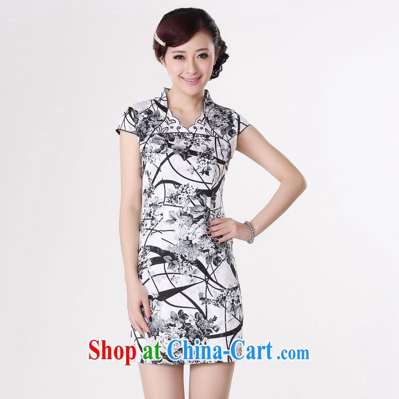 Jing An outfit summer improved retro dresses V collar cotton stamp Chinese improved cheongsam dress short 0209 white 2XL _recommendations 120 - 130 jack_