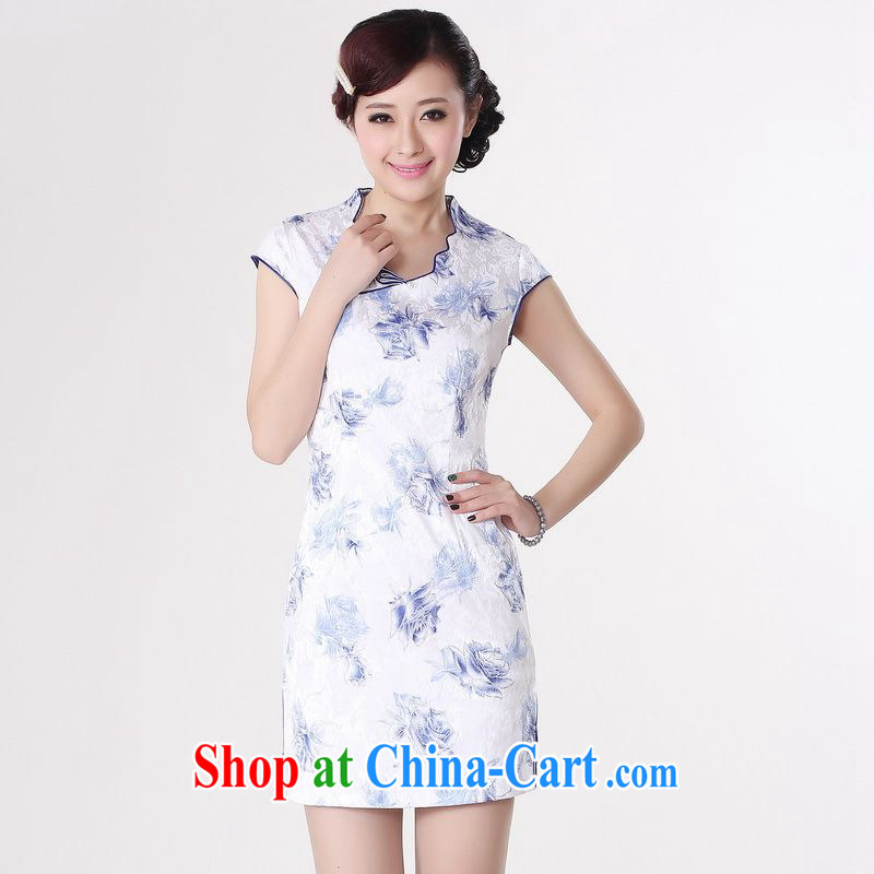Jing An outfit summer improved retro dresses V collar cotton stamp Chinese improved cheongsam dress short black 0206 Orchid�XL _recommendations 120 - 130 jack_