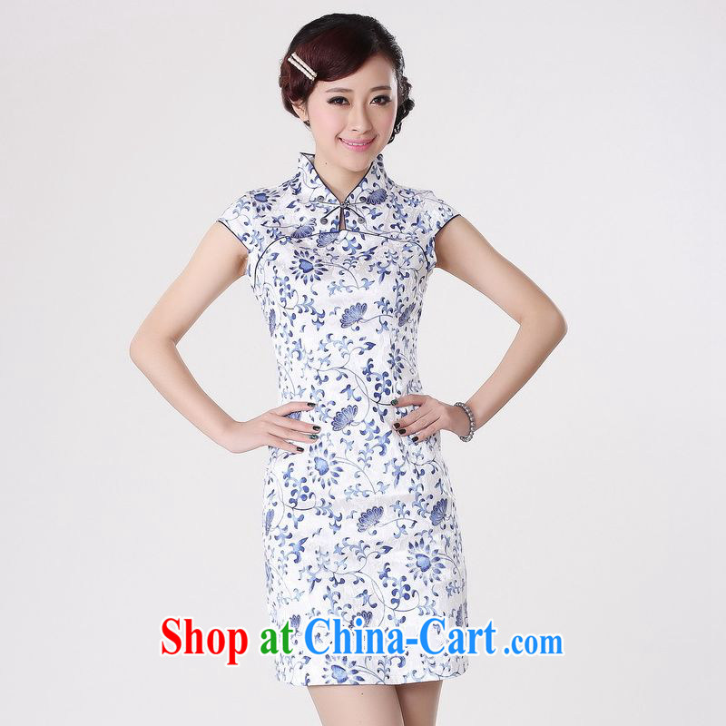 Jing An outfit summer improved retro dresses, for pure cotton blue and white porcelain Chinese improved cheongsam dress short black 0207 Orchid 2 XL (recommendations 120 - 130 jack)