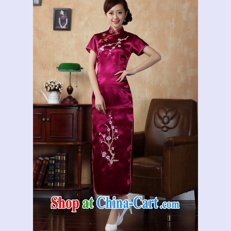 Take the 2014 summer new female cheongsam Chinese improved version, for a tight silk embroidered retro long cheongsam J J 3407 3409 red 2 XL