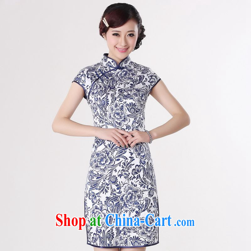 Miss Au contributed dresses summer improved retro dresses, for a tight cotton stamp Chinese improved cheongsam dress short black 0204 Orchid 2 XL _recommendations 120 - 130 jack_