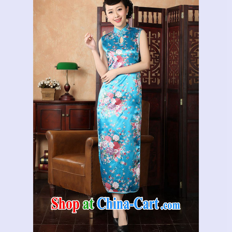 Take the 2014 summer new female Chinese improved the collar cotton hand-painted antique stamp long cheongsam J 146 5110 Lake blue 2 XL