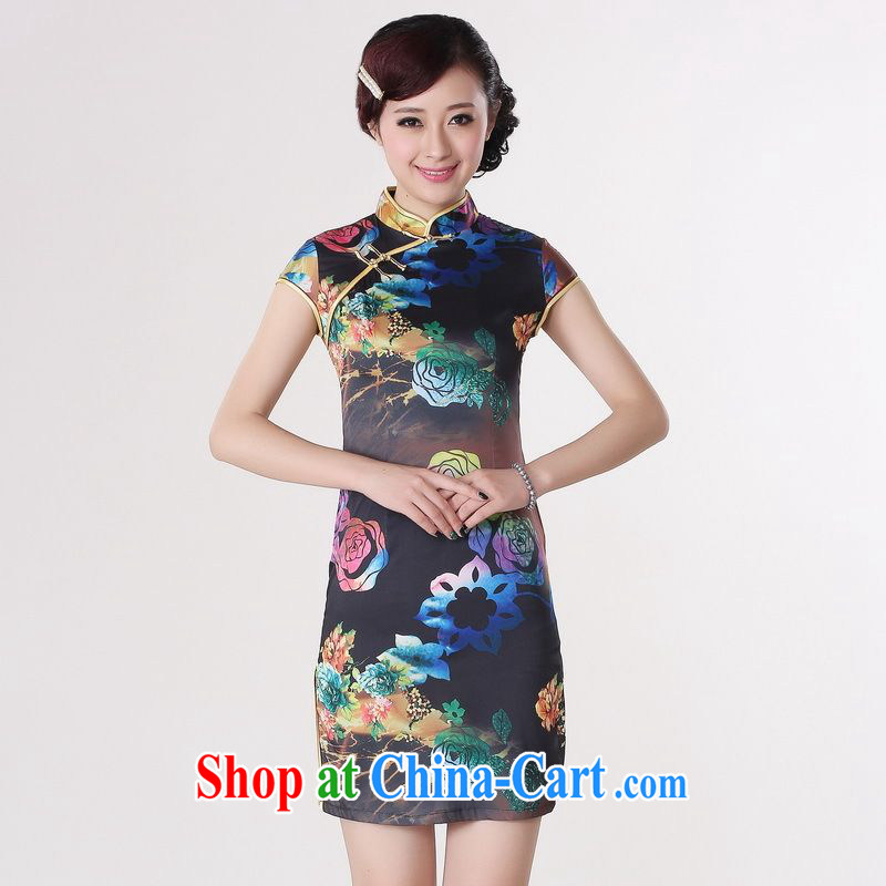 Miss Au contributed dresses summer improved retro dresses, for a tight silk stamp Chinese improved cheongsam dress short 0195 blue 2 XL _recommendations 120 - 130 jack_