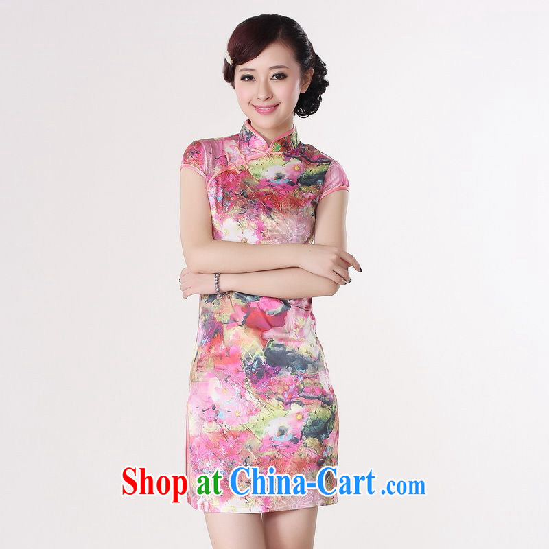 Miss Au contributed dresses summer improved retro dresses, for a tight silk stamp Chinese improved cheongsam dress short 0194 red 2 XL _recommendations 120 - 130 jack_