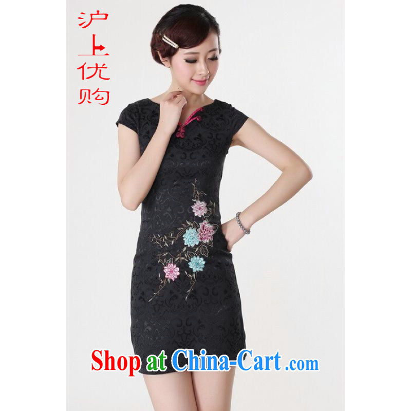 Shanghai, optimize purchase dresses summer improved retro dresses V collar cotton embroidered Chinese improved cheongsam dress short - A black 2 XL recommendations 125 - 130 jack