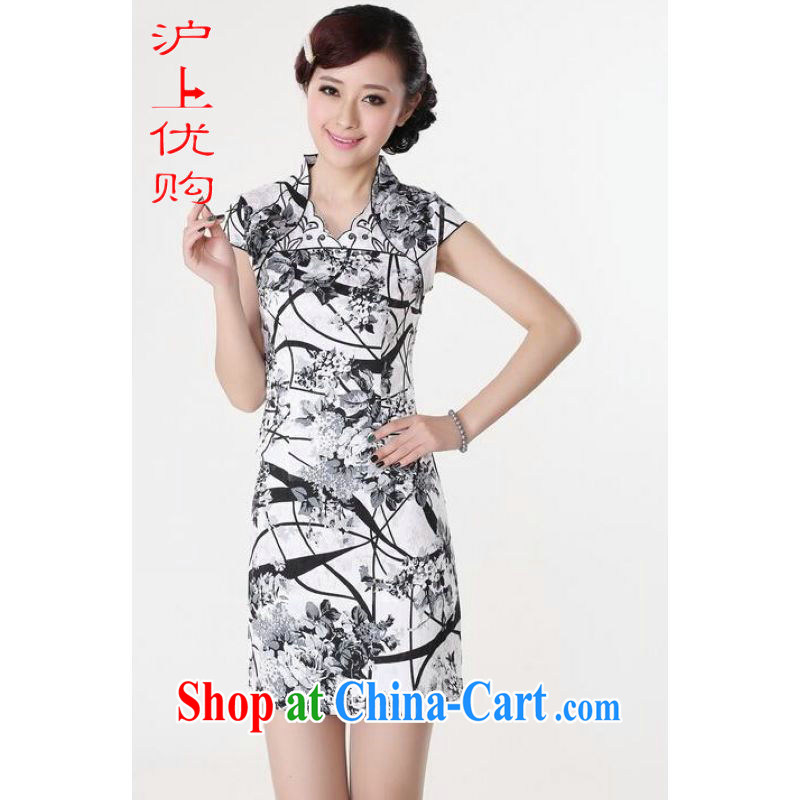 Shanghai, optimize purchase dresses summer improved retro dresses V collar cotton stamp Chinese improved cheongsam dress short white 2XL recommendations 120 - 130 jack