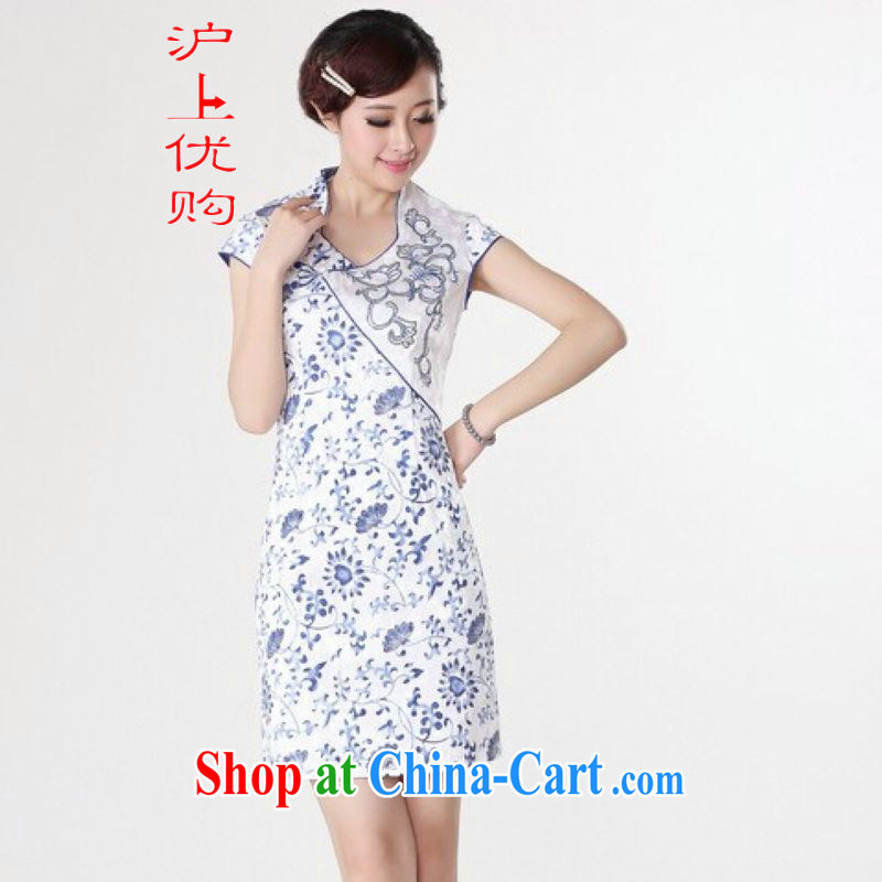 Shanghai, optimize purchase dresses summer improved retro dresses, for pure cotton stamp Chinese improved cheongsam dress short white 2XL recommendations 120 - 130 jack