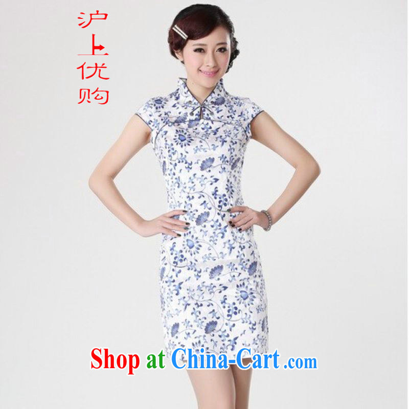 Shanghai, optimize purchase cheongsam dress summer improved retro dresses, for a tight cotton stamp Chinese improved cheongsam dress short black on white Orchid 2 XL recommendations 120 - 130 jack