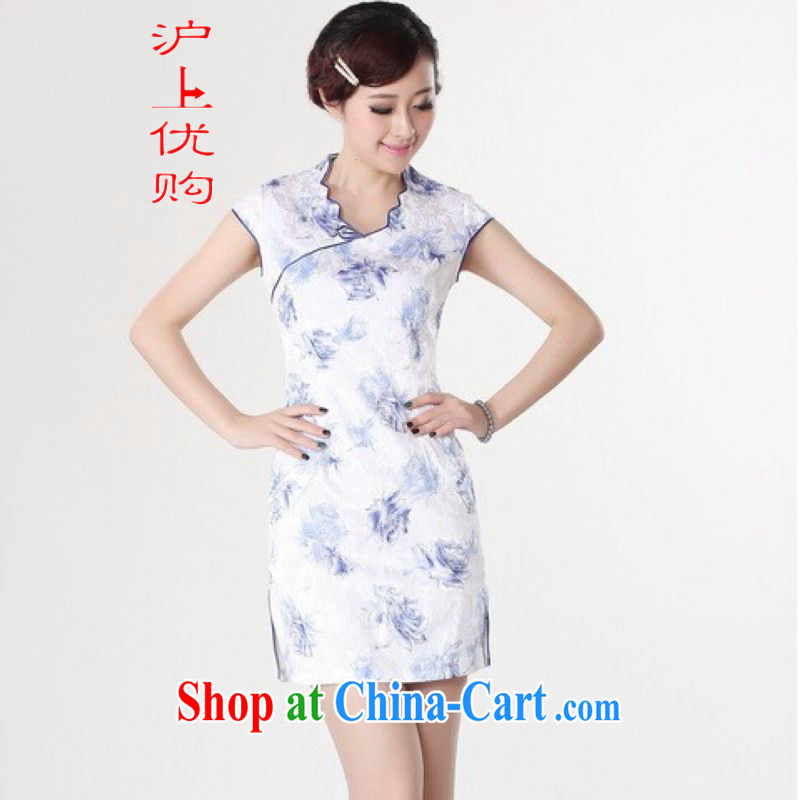 Shanghai, optimize purchase dresses summer improved retro dresses V collar cotton stamp Chinese improved cheongsam dress short black Orchid 2 XL recommendations 120 - 130 jack