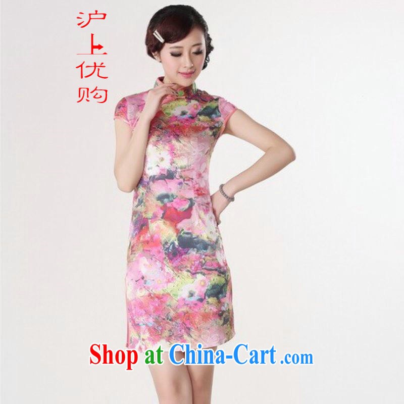 Shanghai, optimize purchase dresses summer improved retro dresses, for a tight silk stamp Chinese improved cheongsam dress short red 2 XL