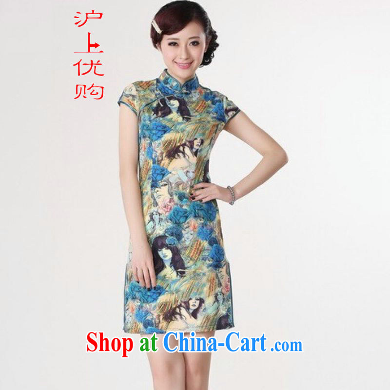 Shanghai, optimize purchase dresses summer improved retro dresses, for a tight silk hand-painted Chinese improved cheongsam dress short blue 2 XL recommendations 120 - 130 jack