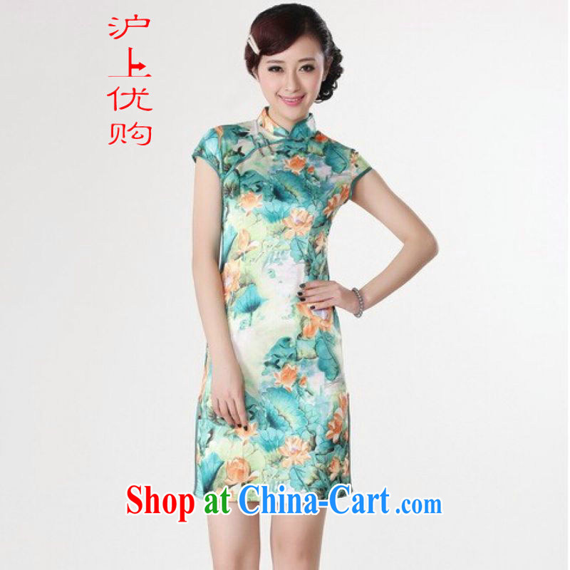 Shanghai, optimize purchase cheongsam dress summer improved retro dresses, for a tight cotton hand-painted Chinese improved cheongsam dress short - B green 2 XL recommendations 120 - 130 jack