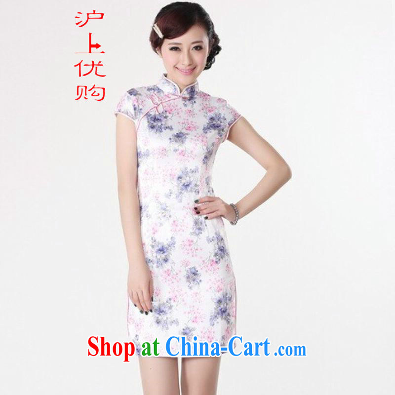 Shanghai, optimize purchase dresses summer improved retro dresses, for the hard-pressed cotton stamp Chinese improved cheongsam dress short white 2XL recommendations 120 - 130 jack