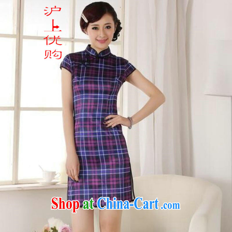 Shanghai, optimize purchase dresses summer improved retro dresses, for the hard-pressed checkered Chinese improved cheongsam dress short - A purple 2 XL recommendations 120 - 130 jack