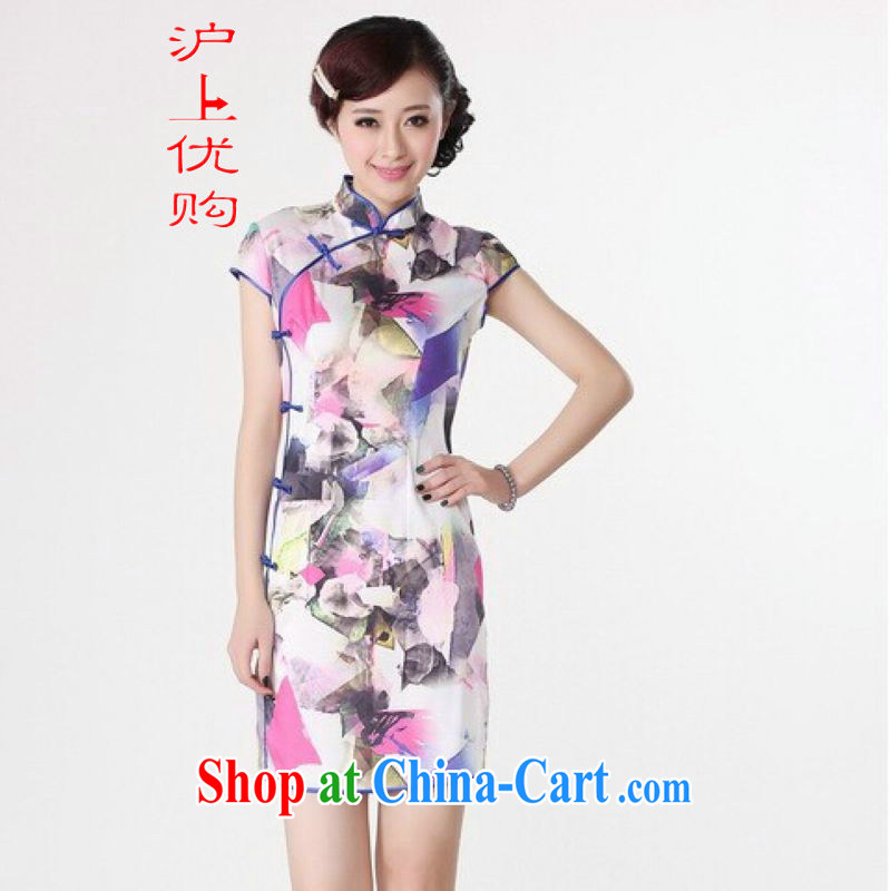 Shanghai, optimize purchase dresses summer improved retro dresses, for the hard-pressed silk stamp Chinese improved cheongsam dress short white M recommendations 100 - 110 jack