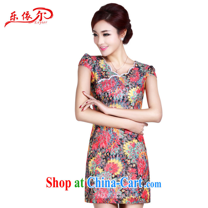 And, in accordance with 2015 short-sleeved dresses summer short cheongsam dress female elegant classical lady daily outfit apricot S