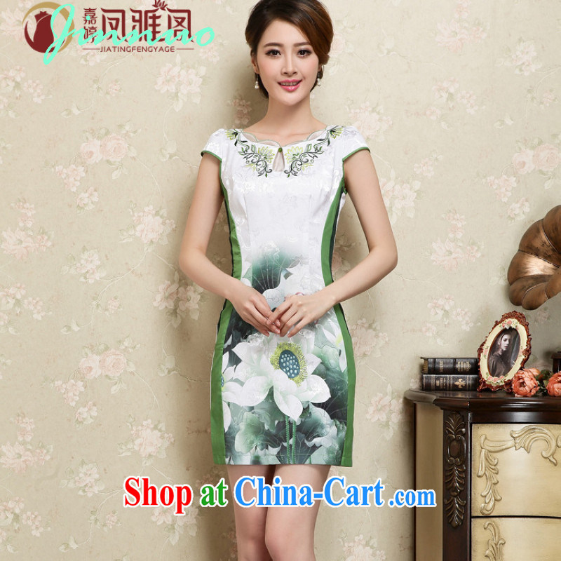 kam world the Hyatt Hotel clothing summer restaurant in restaurant uniforms Chinese improved courtesy embroidery waves the root yarn laces Lotus short cheongsam blue and white porcelain Chinese green L