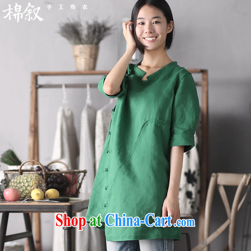 Syrian cotton in 1036 the page of Shanghai Chinese Antique improved the charge-back dresses summer fashion cuff cheongsam dress dark green pre-sale 6.18 shipping M