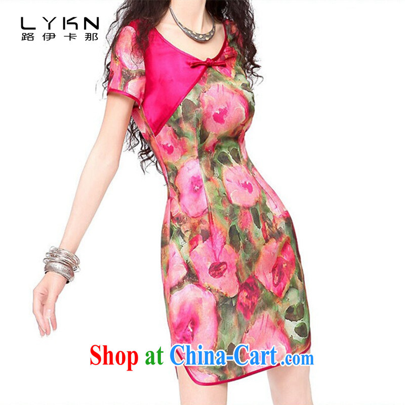 The way the emulation, the stamp duty charge-back short sleeves cheongsam dress beauty dresses A 6010 red L