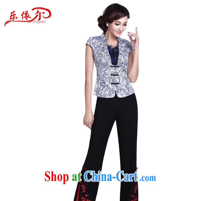 And, in accordance with new blue and white porcelain cheongsam Kit female beauty graphics thin elegant daily improved cheongsam short T-shirt blue shirt + pants L