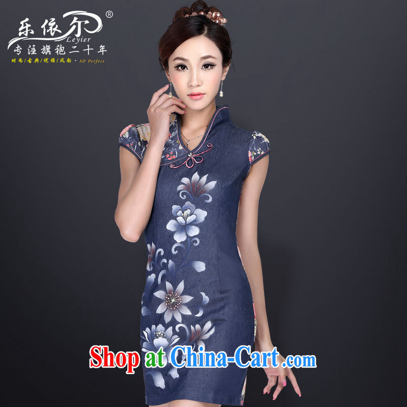 Music in summer new improved cheongsam short stylish women cheongsam dress dress Chinese antique dresses dark blue XL