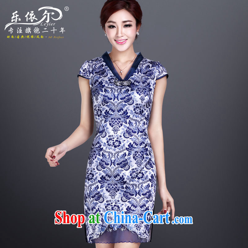 Music in summer 2014 new dresses, blue and white porcelain antique Ethnic Wind improved daily cheongsam dress blue XL