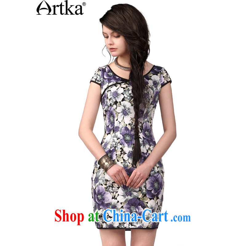 Artka the first Hong Kong operates national water and ink stamp summer new short-sleeved dresses, Sai Kung satin dress LA 10,847 X Mugunghwa purple L