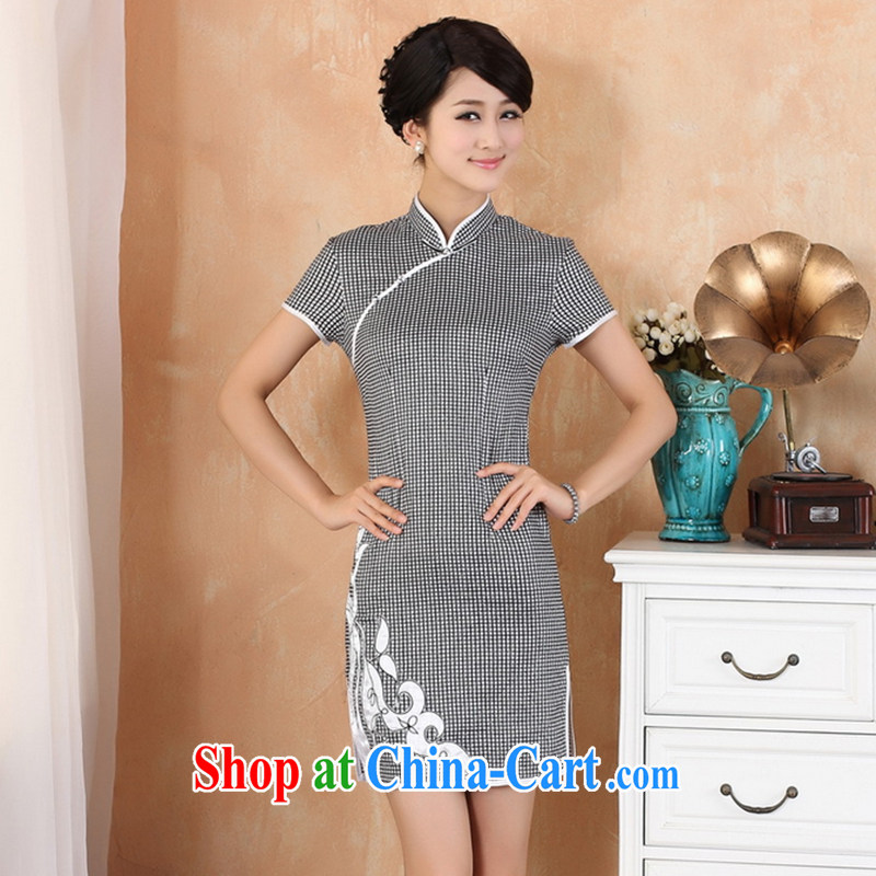 Take the 2014 new summer stylish Chinese improved cheongsam Ethnic Wind aura grid, for a tight cotton robes 2325 - 1 black L