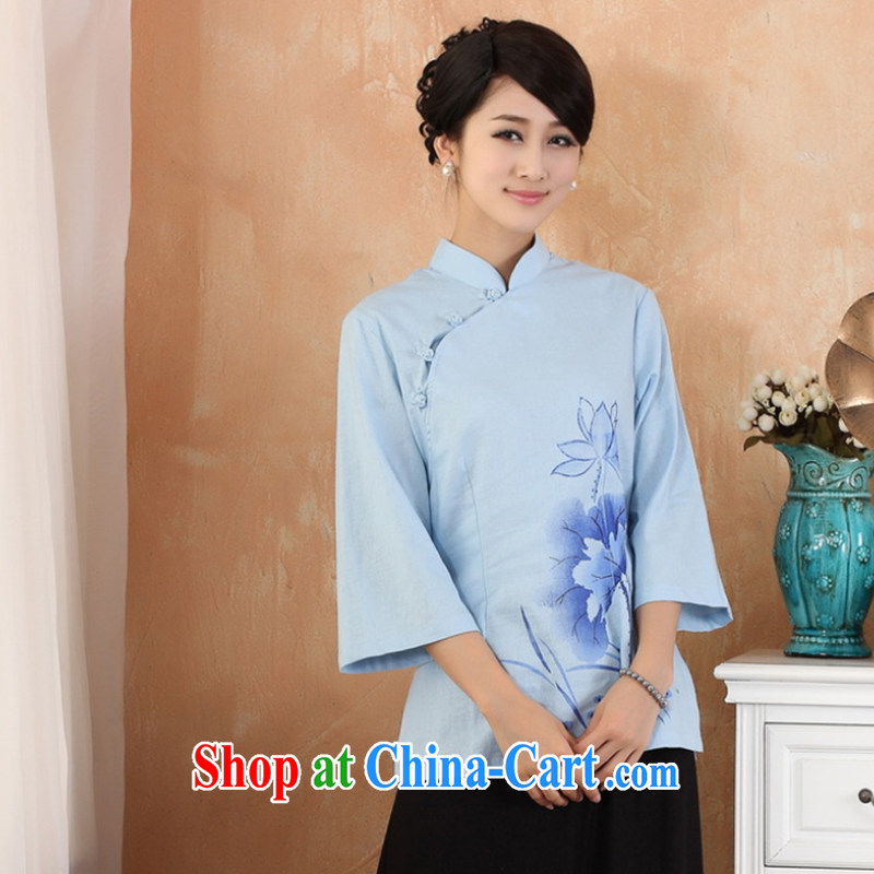 Take the 2014 new units the larger Chinese women improved, for hand-painted Han-Chinese, summer 2379 - 1 - 1 blue 3 XL