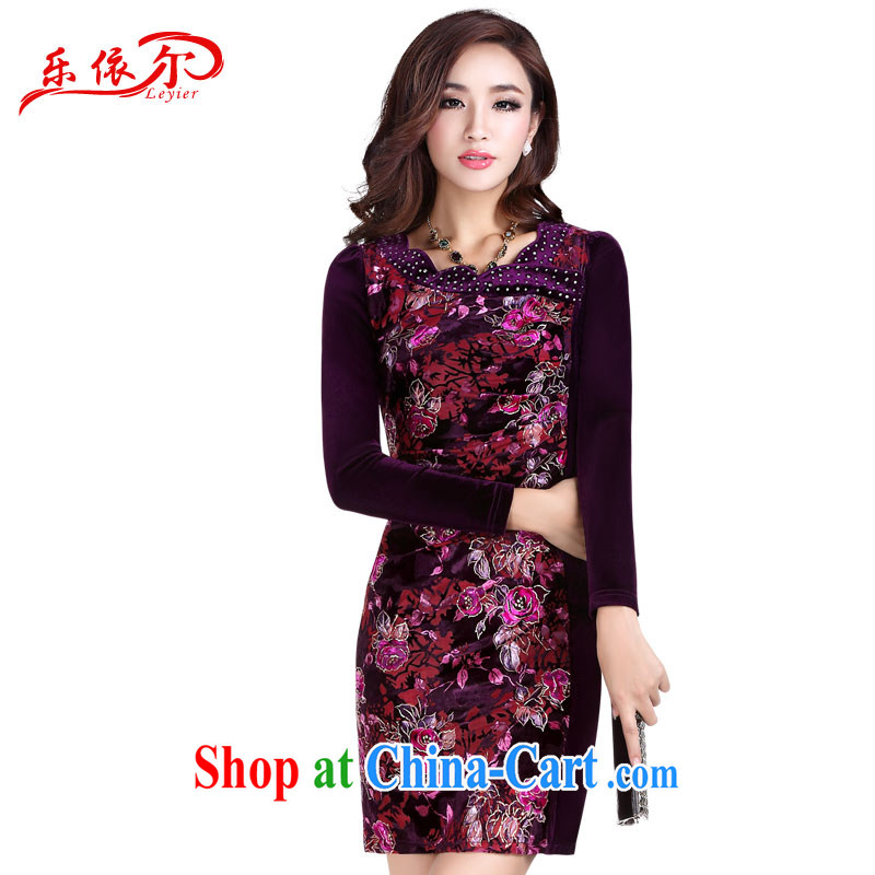 And, in accordance with 2014 summer short-sleeved short cheongsam girls retro stamp elegant and refined daily female cheongsam dress black XL
