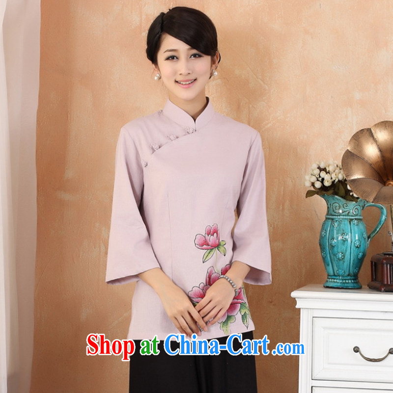 Take the 2014 new summer hand-painted dresses T-shirt cotton the larger Chinese female improved Han-chinese 2381 - 1 - 3 purple 3 XL