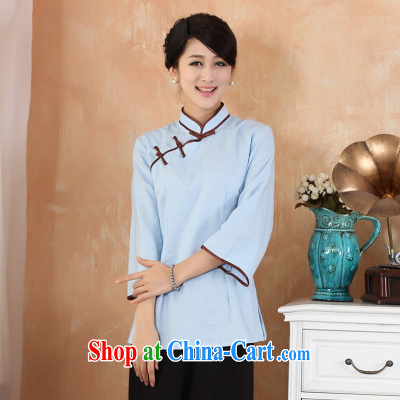 Take the 2014 new dresses T-shirt cotton the larger Chinese female improved Han-chinese autumn Ms. - 1 blue 3 XL