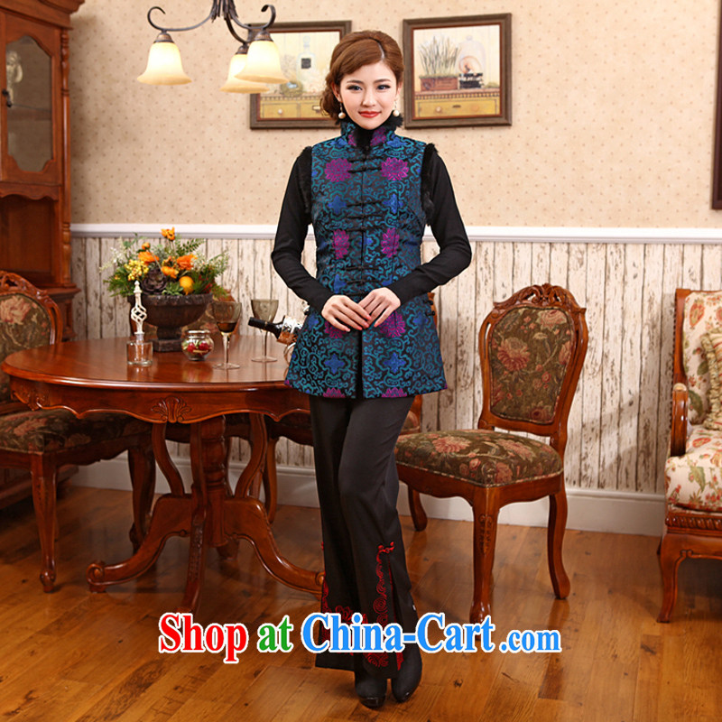Spring New Year outfit improved Stylish retro Folder unit, a thick qipao Chinese T-shirt Blue Green 2 XL