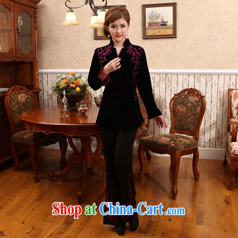 2014 spring new Chinese jacket spring thick long-sleeved mother Chinese T-shirt Ms. X 417 black 4XL