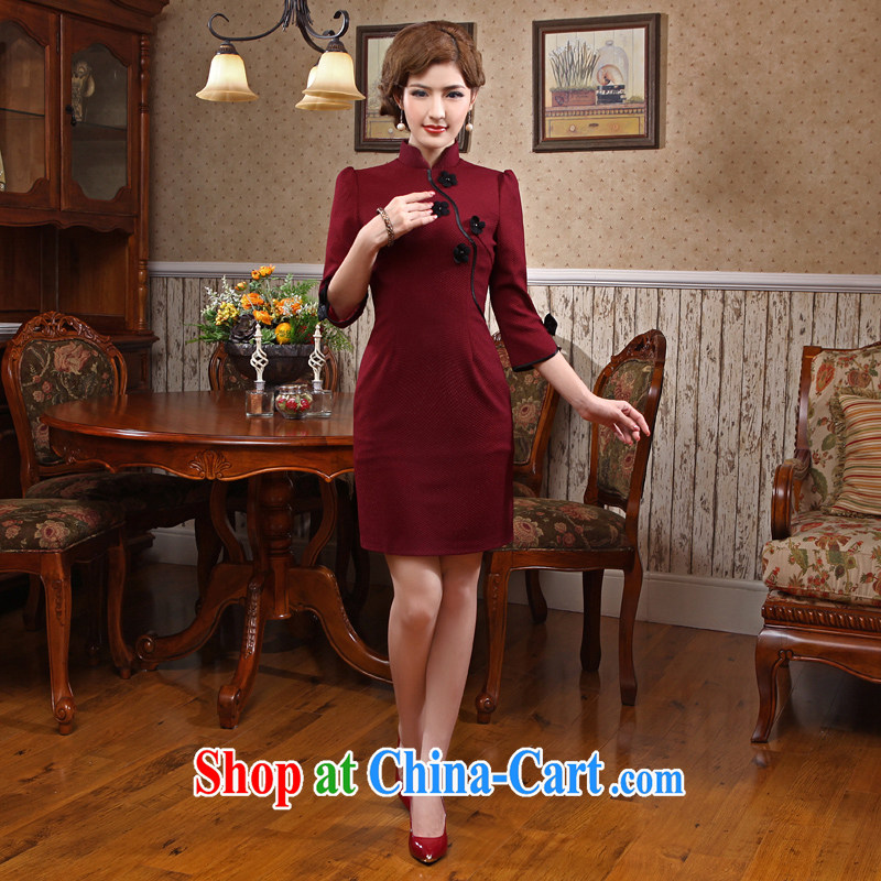 Spring 2014 new daily goods improved fashion cuff cheongsam high-end dress cheongsam dress Uhlans on 2 XL