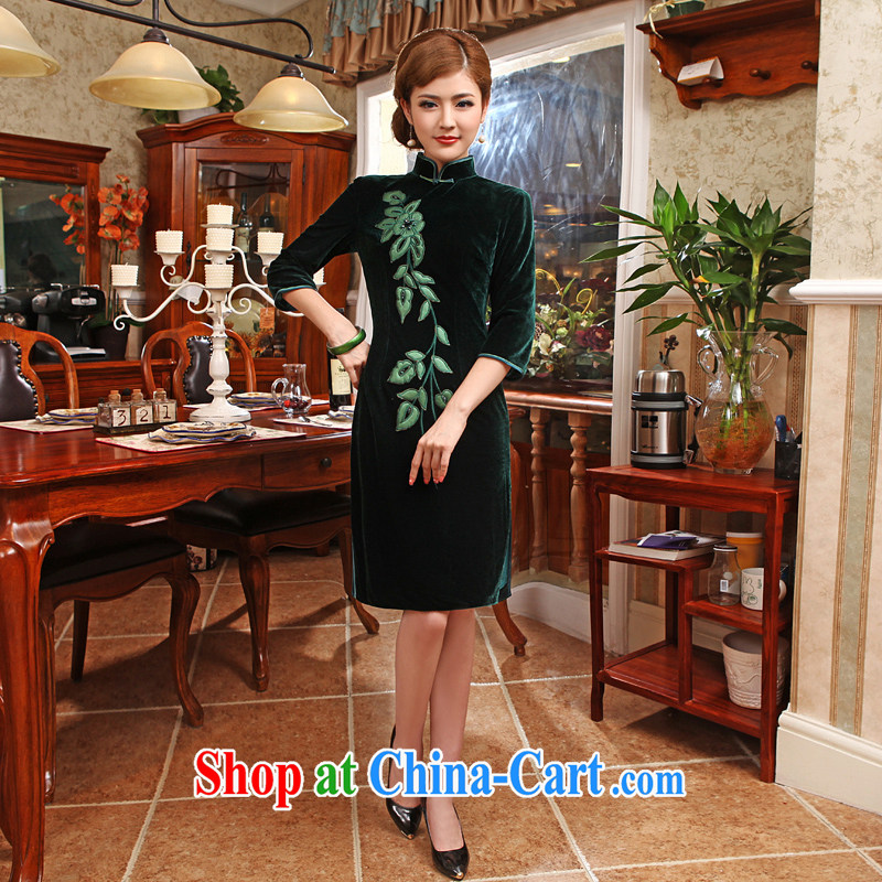 Spring and solid color beauty long increase in older mothers, long-sleeved clothes retro winter clothing qipao army green 2XL