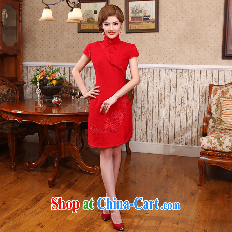 Modern Chinese Winter improved folder cotton daily outfit with new Chinese hair collar cheongsam dress red L