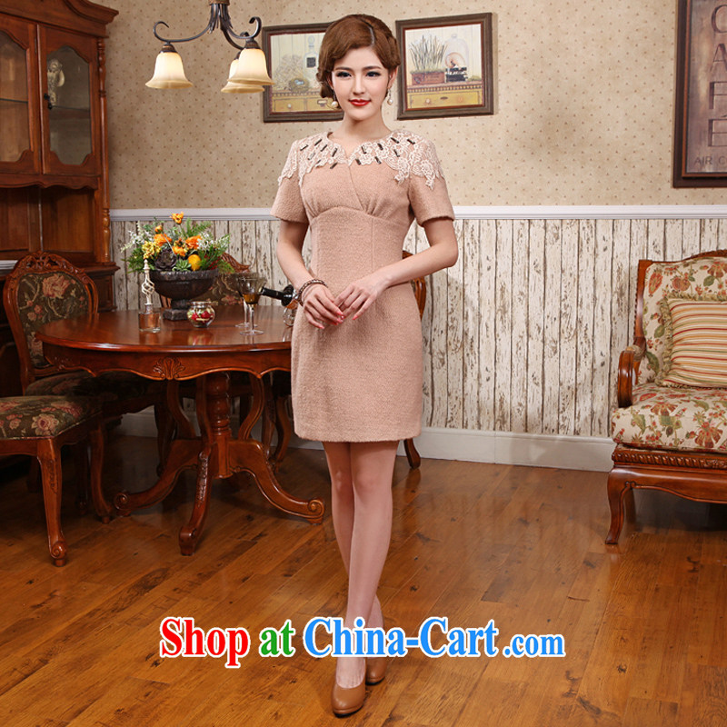 2014 wool winter with Chinese classical long-sleeved improved New cheongsam dress beige 2 XL