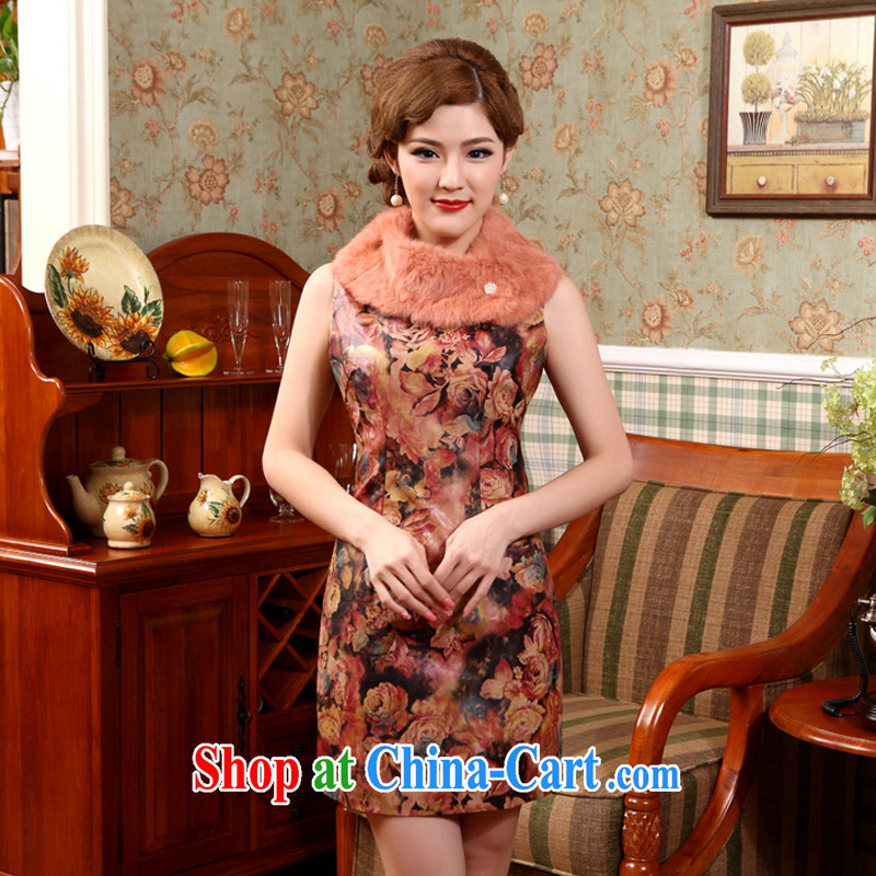 2014 autumn new sleeveless thick fall dresses, skirts and stylish washable leather improved cheongsam floral 2 XL
