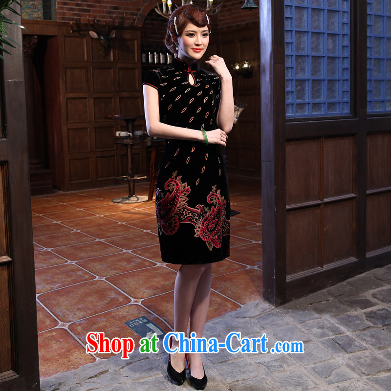 2014 spring new dresses Chinese Embroidery painting Ethnic Wind short cheongsam embroidered black XXL