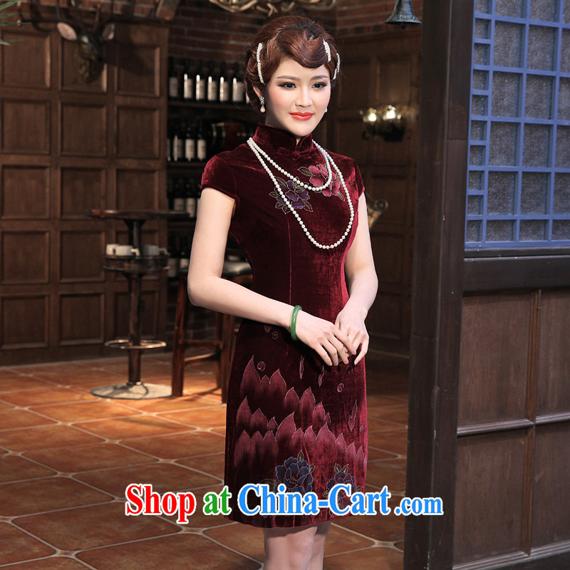 2014 spring new retro improved gold velour robes, long-sleeved embroidered dress dresses Uhlans on XXL